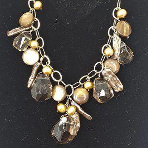 14KG Cultured pearl & Smoky Quartz Necklace